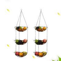 Hollow Round 3 Tier Wire Hanging Fruit Vegetable Kitchen Storage Basket Plate