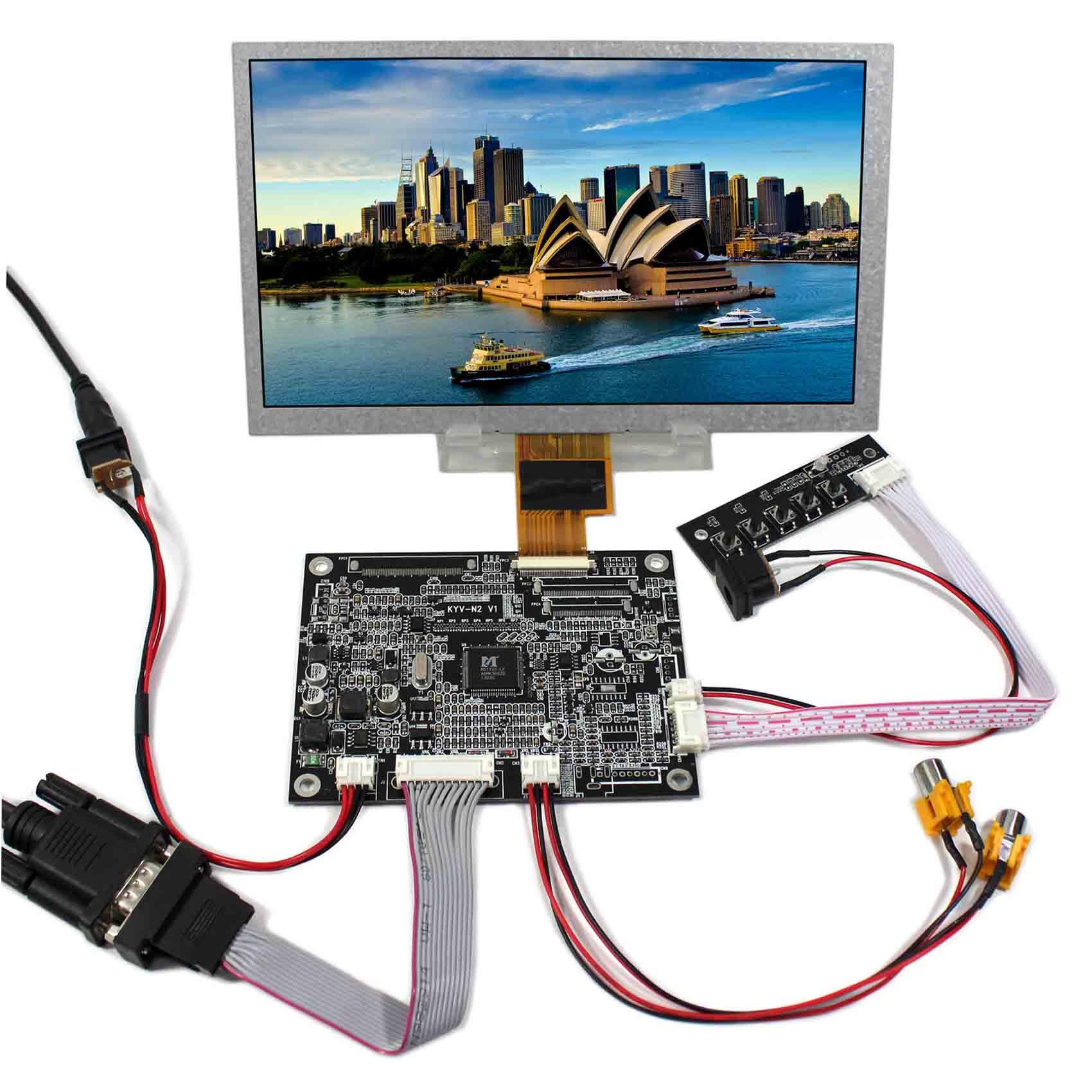 цена 8inch ZJ080NA-08A 1024x600 LCD Screen+VGA 2AV Reversing LCD Controller Board KYV-N2 V1