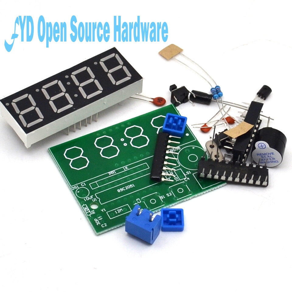 High Quality C51 4 Bits Electronic Clock Electronic Production Suite DIY Kits ...