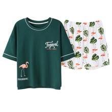 Korean Summer 2019 New Print Flamingo Pajamas Women Cotton Pajama Set Short Sleeve Elastic Waist Sleepwear Lounge pyjamas S92007