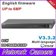 DS-7608N-E2/8P Network NVR with 8CH& 8POE HD 5MP for IP Camera Network Video Recorder Multi-language 2SATA for HDD