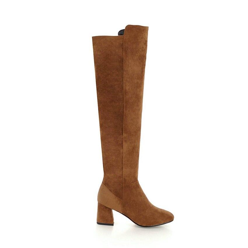 Negro Zapatos 43 Rodilla Tamaño Invierno Punta 2019 34 Botas Cuadrada Mujer Corta marrón Square Sobre Esveva Flock La Otoño De Altos Felpa Tacones 5xq1pwpR4