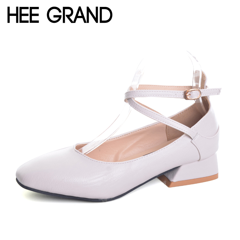 HEE GRAND Summer Pumps Shoes Flock Round Toe Mary Janes High Heels Casual Autumn Elegant Lady Buckle Strap Shoes Woman XWZ4471 цена и фото