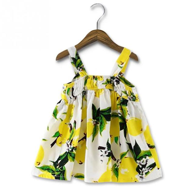 Lemon Print Baby Girls Clothes Slip Dress Princess Birthday Dress