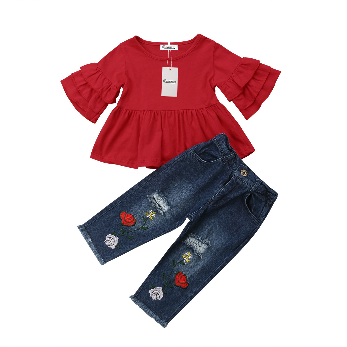 US Kids Baby Girls Outfits Clothes Bow Long Sleeve T-shirt Tops+Pants 2PCS Set
