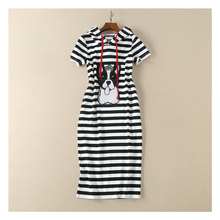 High Quality runway fashion designers dresses 2018 women clothes striped printing dog embroidery Casual hooded dress S-XL B496