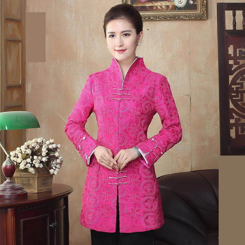 Chinese Style Handmade Button Improved Jacket New Spring Women Long Sleeve Coat National Mother Clothing Embroidery Outcoat