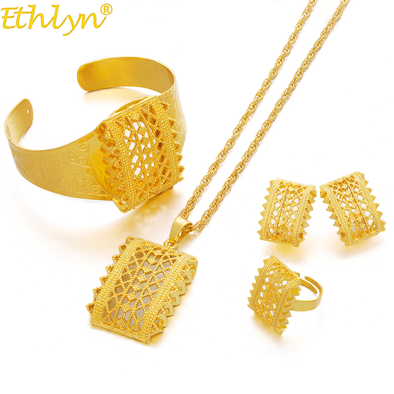 Ethlyn Earrings Jewelry Necklaces Pendant Ethiopian Gold-Color-Sets Wedding-Gifts Eritrean