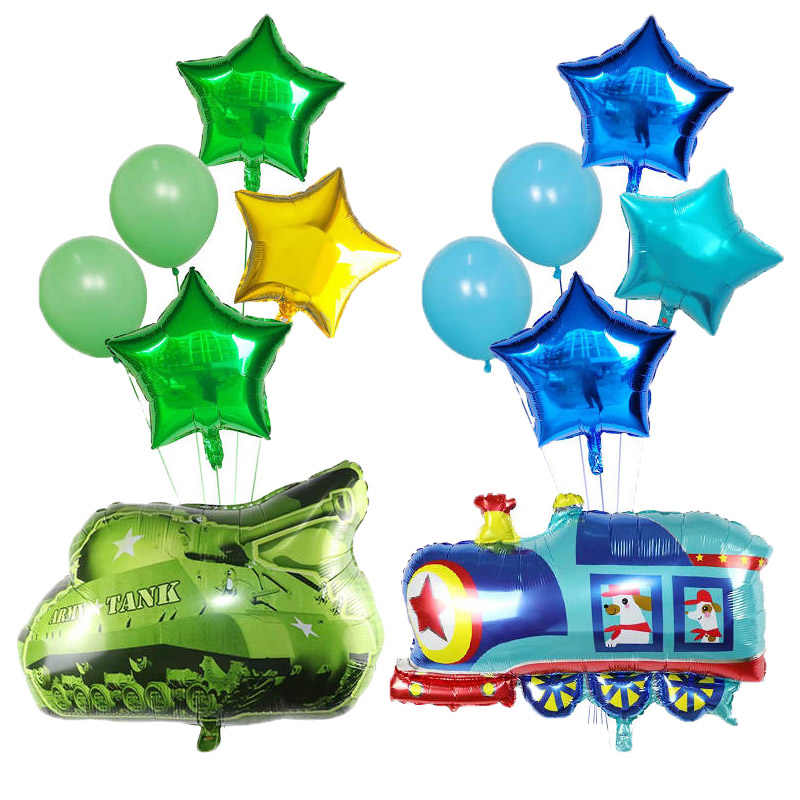 6pcs Cartoon Car Balloons Fire Truck Car Train Foil Balloon Ambulance Globos Children Gift Birthday Party Decorations Kids balls