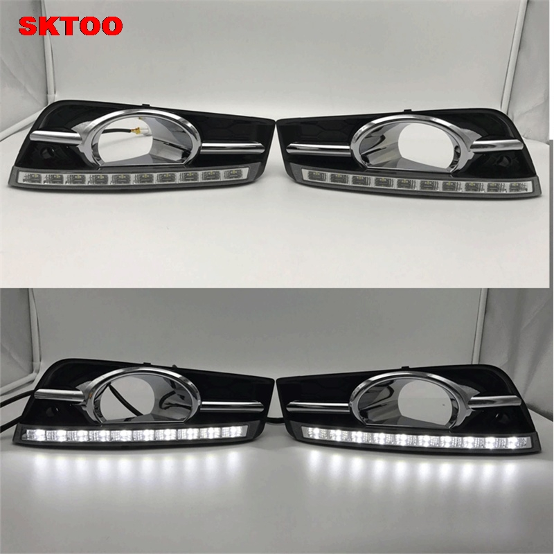 SKTOO For Chevrolet Cruze 2010 2011 2012 2013 with fog lamp Turn off and dimming style relay LED Car DRL Daytime Running Lights led auto car drl daytime running lights gloss style fog lamp with turn off and dimmer function case for 2012 ford focus 3