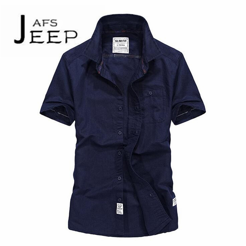 JI PU Males Solid Cotton De manga corta de color solido,Fashion Style Mans Slim Camisas de marca para hombres pockets shirt