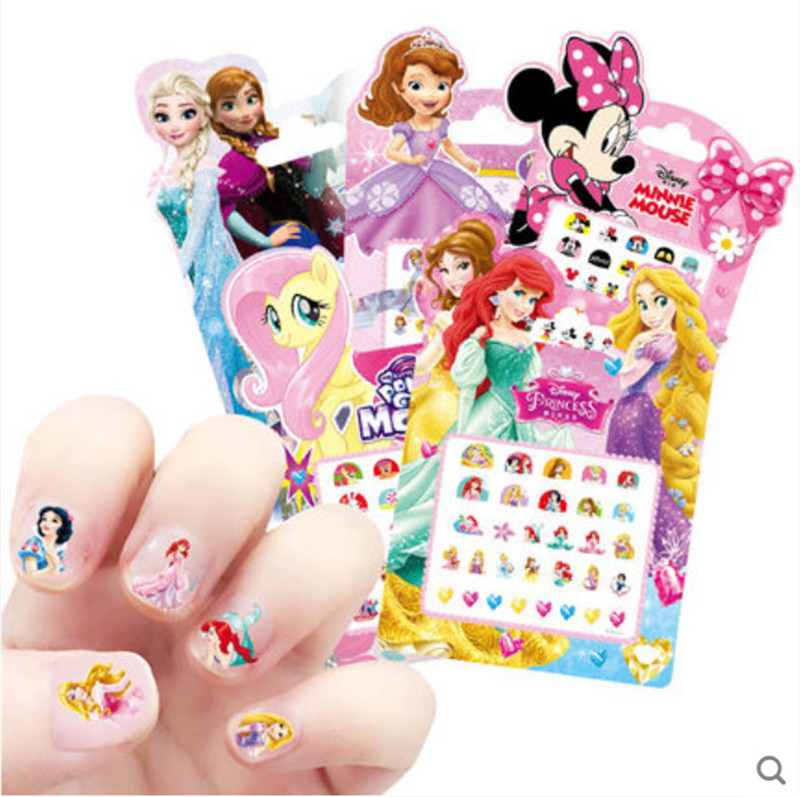 Frozen Princess Nail Sticker Children Cartoon Girl Baby Makeup Jewelry Nail Art Toy Waterproof Sticker Disney
