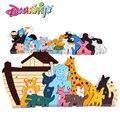 Entrega gratuita, arca de noé de rompecabezas de madera, Juguetes y Pasatiempos Modelos y Juguete del Edificio, juguetes educativos de Los Niños, personajes animales