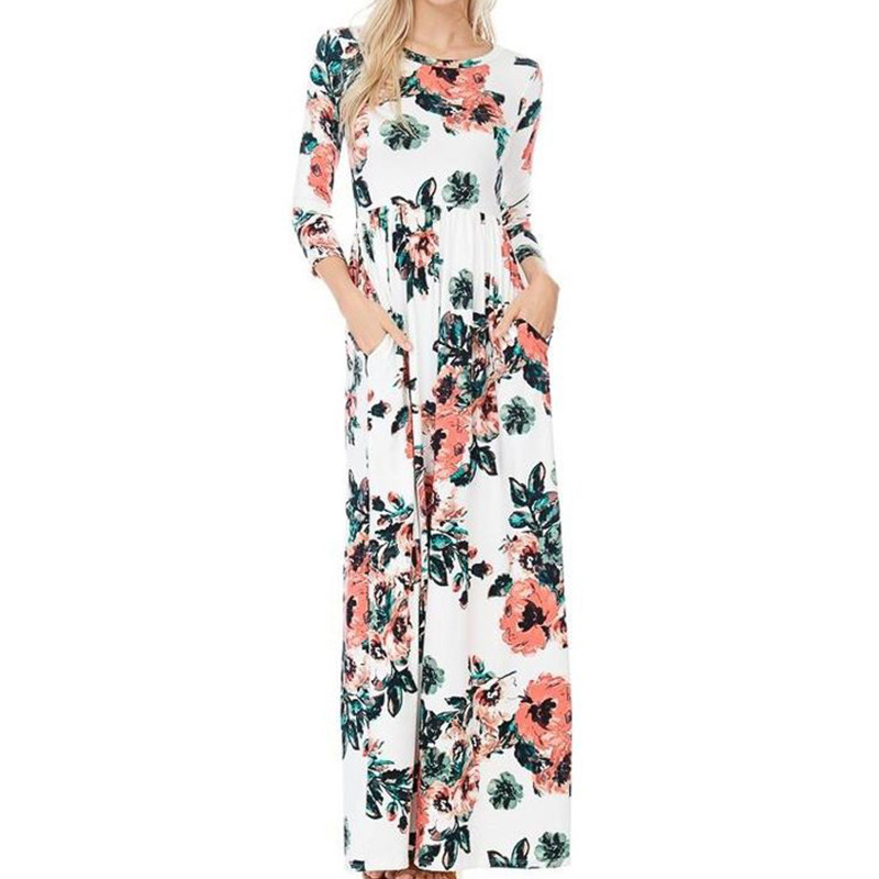 Casual Maxi Dress Plus Size Vestidos De Fiesta New Arrivals Floral Print Summer Dress Elegant O Neck Beach Dress Wrist Sleeve in Dresses from Women 39 s Clothing