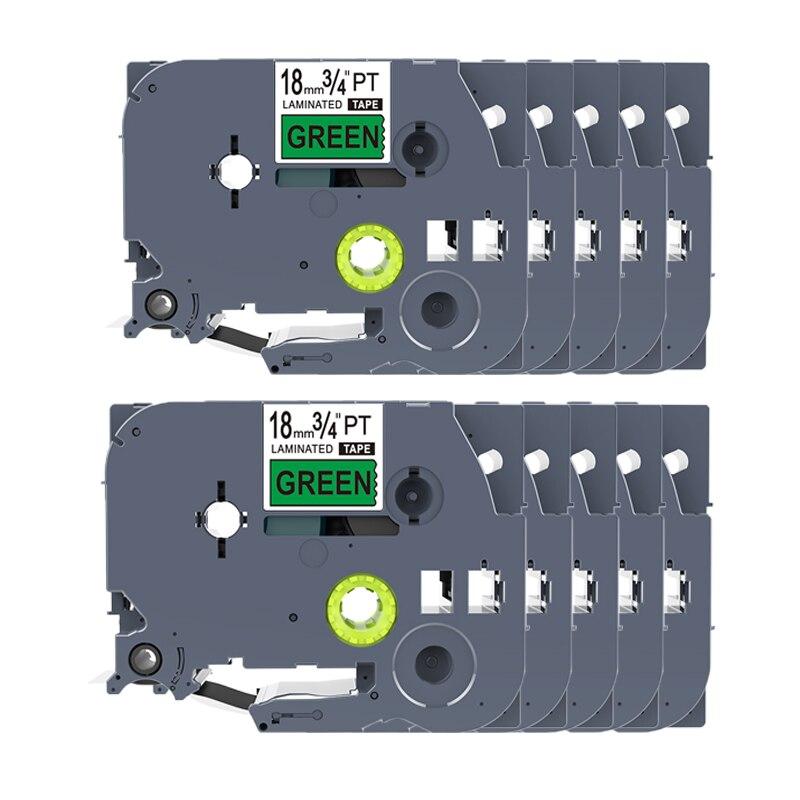 PUTY 10pcs Tze741 Tze 741 Tze 741 For Brother 18mm Tze tape Ptouch Cartridge Label Maker