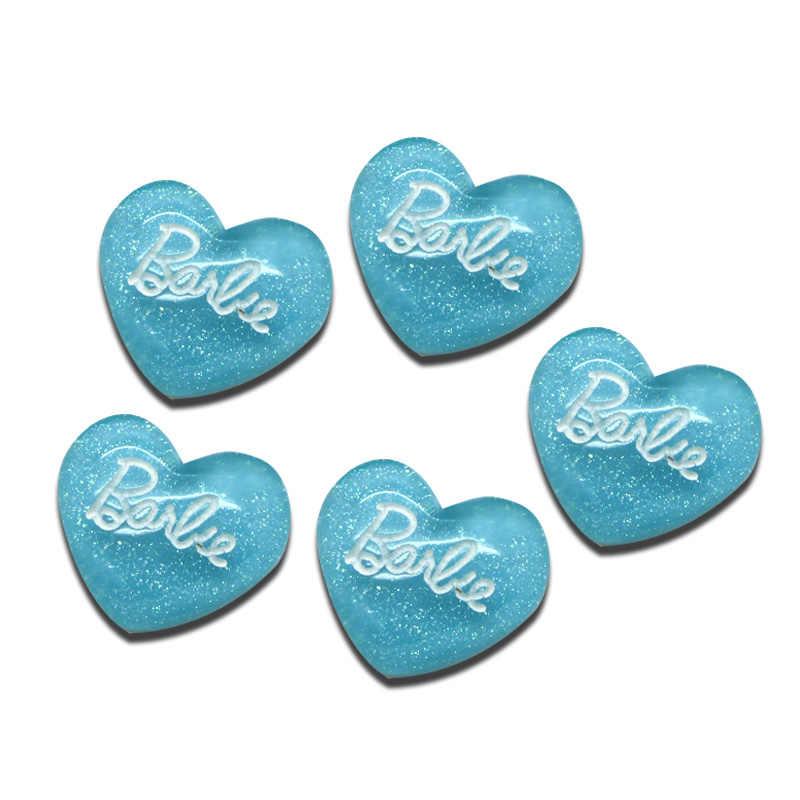 30 ชิ้นสีฟ้าหัวใจเรซิ่นงานฝีมือตกแต่ง Kawaii ลูกปัด Flatback Cabochon ตู้เย็นแม่เหล็ก DIY อุปกรณ์เสริมปุ่ม