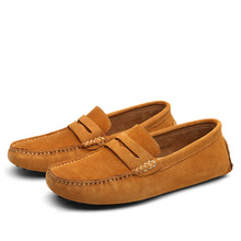 Plus Size 38-49 Genuine Leather Shoes Spring Nubuck Men's Flats Shallow Pigskin Breathable Loafers Casual Driving Shoes Mocassin