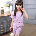 2016 New Summer Girls Set The Child Short Sleeved Hollow Two Sets Of Clothing Childres Summer Dess