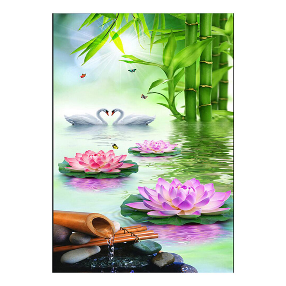 5d Beautiful Swans And Lotus Diamond Embroidery Diy Chinese