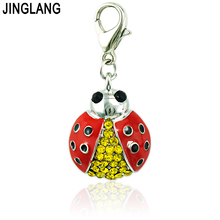 JINGLANG Fashion Lobster Clasp Charms Dangle Rhinestone Red Enamel Ladybird Animal Pendant Charms Jewelry Making DIY Accessories