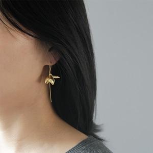 Image 5 - Lotus Fun Moment Real 925 Sterling Silver Handmade Designer Fashion Jewelry Elegant Magnolia Flower Dangle Earrings for Women