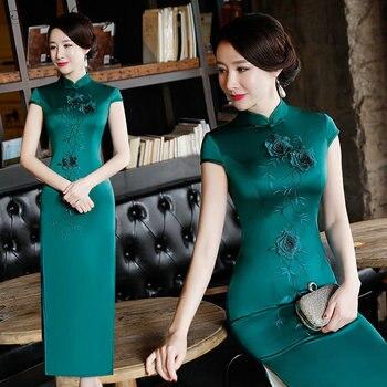 2018 New High Fashion Green Rayon Cheongsam Chinese Classic Women's Qipao Elegant Short Sleeve Novelty Long Dress S-3XL  CC515