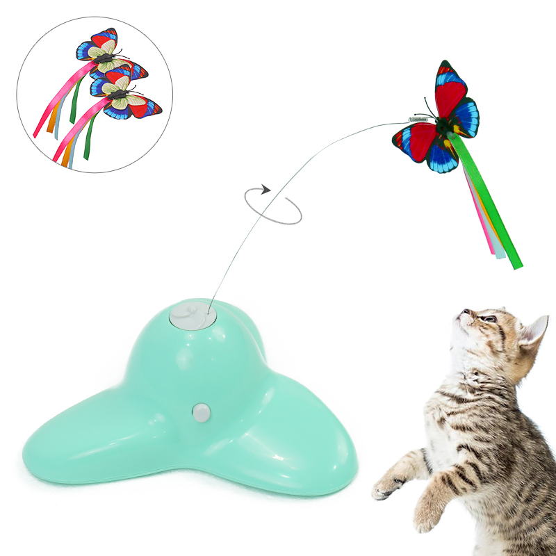 Bascolor Electric Rotating Butterfly Cat Toys Two Flashing Butterflies Interactive Cat Teaser Toy Bird Pet Trainning Toy