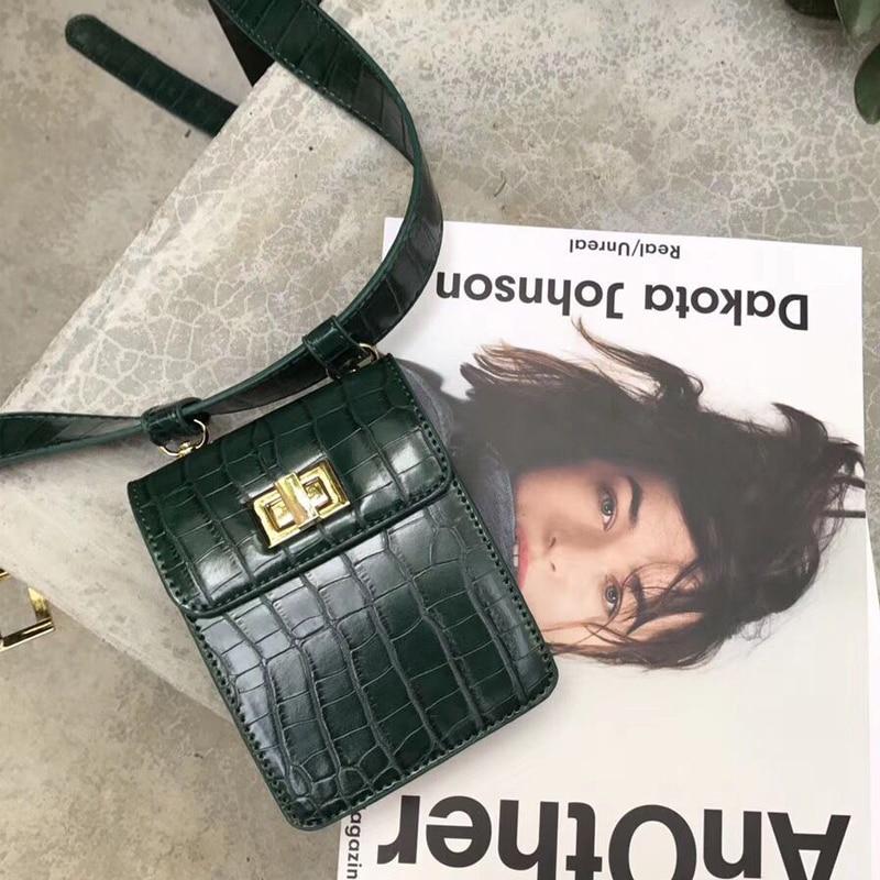 fashion alligator women crossbody bag leather belt waist packs chic style mini shoulder bag vintage pattern small handbag