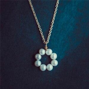 Image 2 - פנינת שרשרת זהב מלא Chocker בציר תכשיטי מינימליזם קסם שרשרת Bijoux Femme Boho שרשרת לנשים קולייר