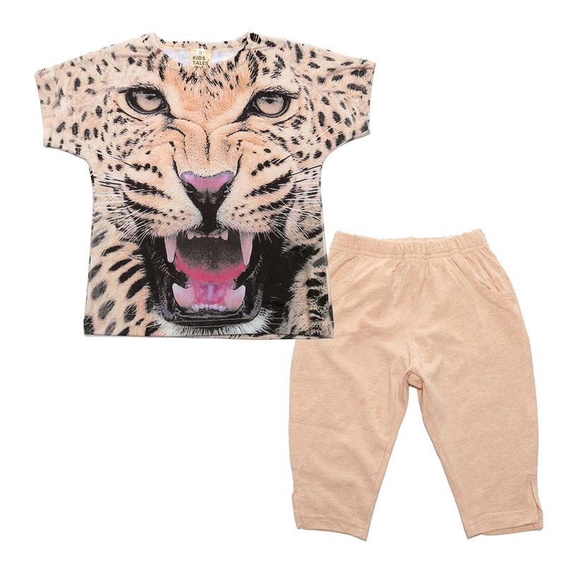 Girls Clothes Toddler Girls Clothing Sets Baby Girls Kids Clothes Children Clothing Short Sleeve Leopard T-Shirt+ pants 1 7y toddler kids clothes 2017 fashion children girls leopard hooded vest t shirt tops hole jean denim shorts 2pcs clothing set