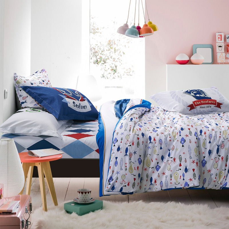 cotton fabric blue white stripe comforter bedding set queen full size 45pc plaid quilt duvet cover girl bed sheets linen cover