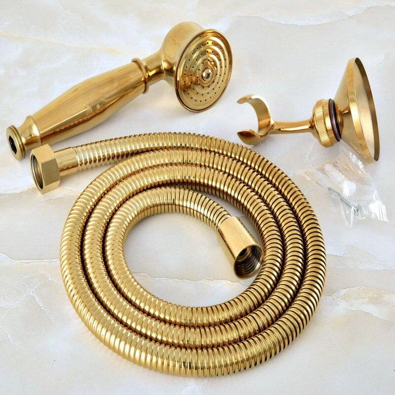 Gold Color Brass Hand Held Shower Head Wall Holder Bracket 1 5M Hose Set Water Saving