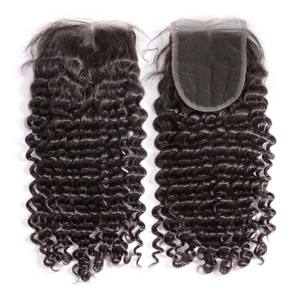 Luvin onda profunda 8-28 30 pulgadas 3 4 paquetes con cierre brasileño cabello humano tejido Pelo Rizado Remy onda de agua de Color Natural
