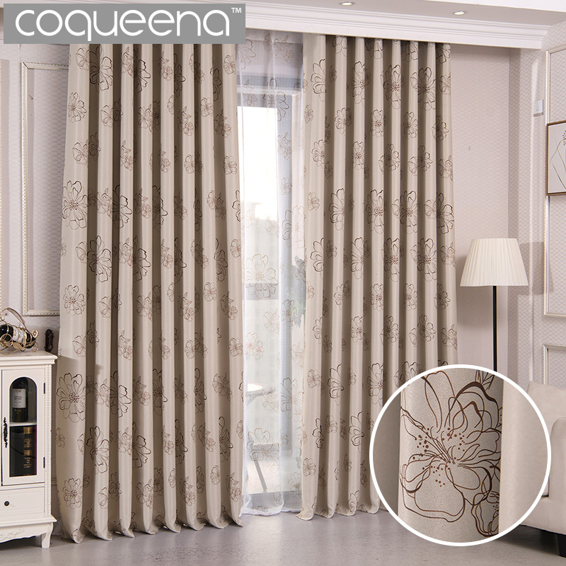 Elegant Curtains For Living Room Bedroom Door Window Curtains Panel Drapes Window Treatments Cream Beige Floral Desgin, 1 Pcs