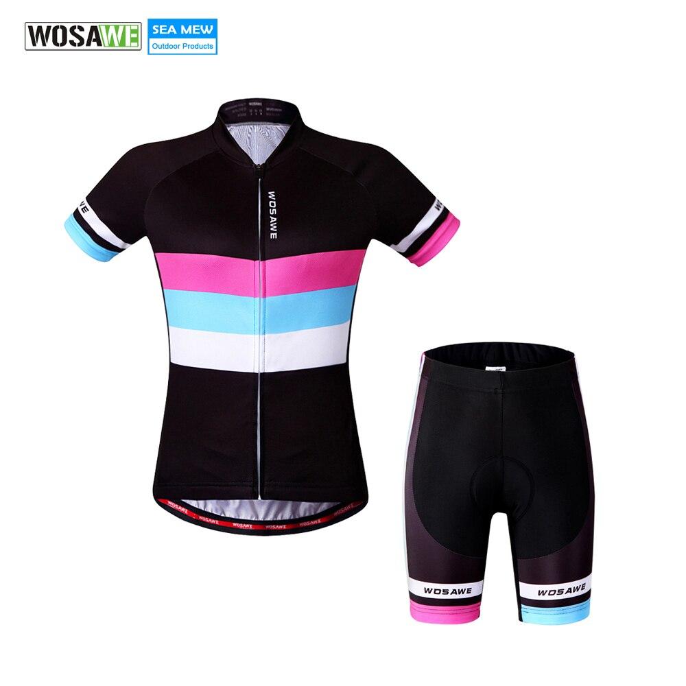 WOSAWE Frauen Radfahren Jersey weibliche sommer radfahren kleidung Atmungsaktiv frau kurzarm tops radfahren sets für sicher ridding