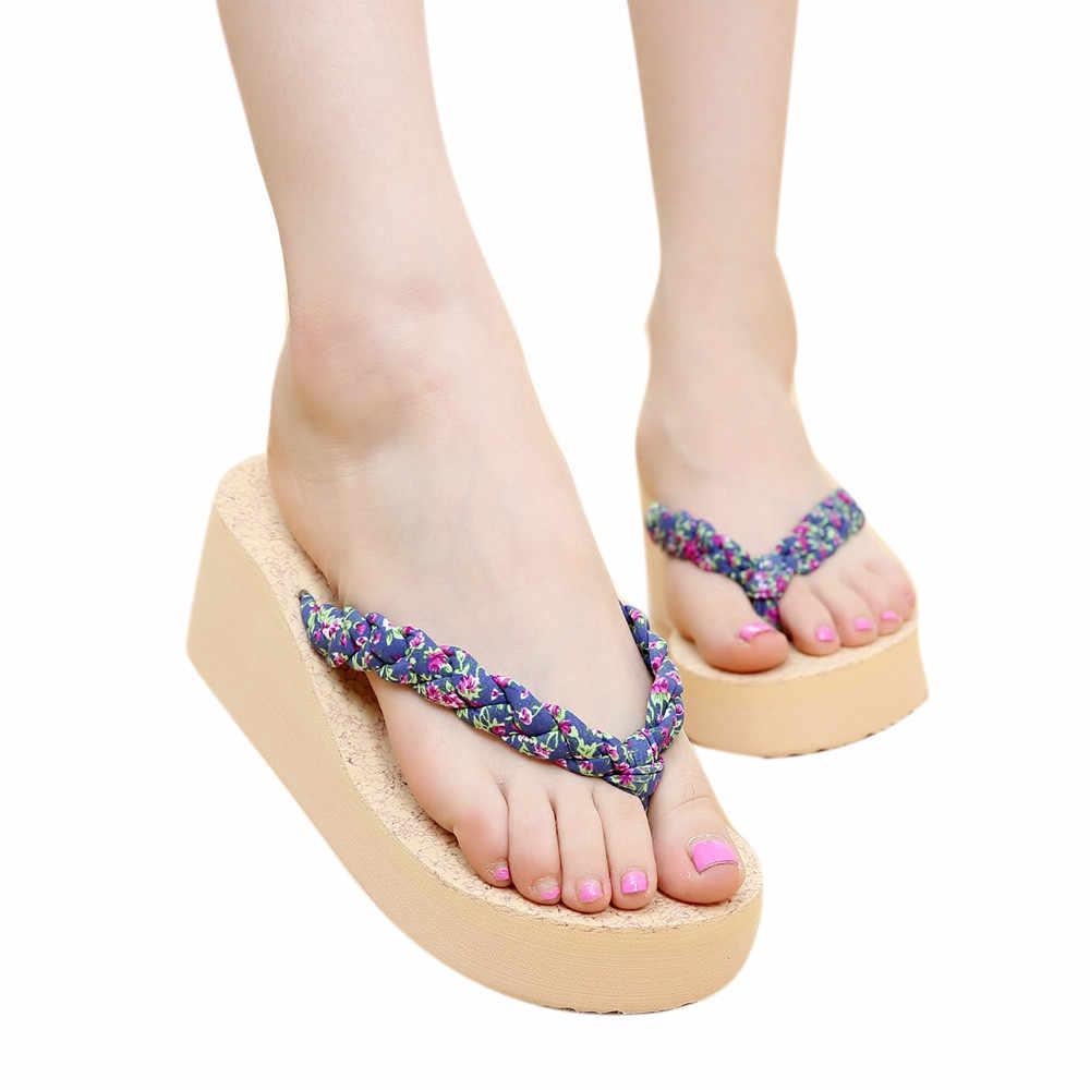 8cb3c2246 Slippers Women Summer Bohemia Sweet Floral Flip Flops Sandals Clip Toe Sandals  Beach Shoes Tongs Femme