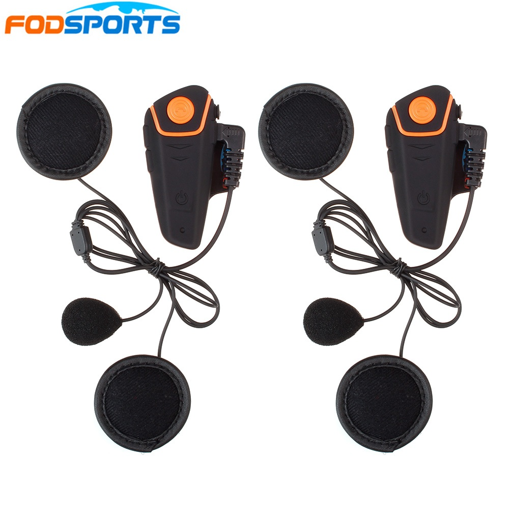 2 pcs BT S2 Motorcycle Helmet Bluetooth Intercom Headsets 1000m Motorbike Interphone with Soft Microphone FM