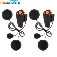 2 pcs BT-S2 Motorcycle Helmet Bluetooth Intercom Headsets 1000m Motorbike Interphone with Soft Microphone FM Waterproof IPX6