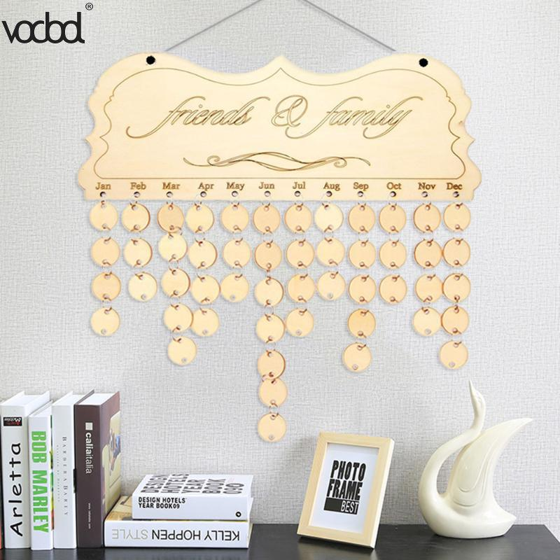 VODOOL DIY Wooden Birthday Calendar Friends & Family Printed Wall Calendar Sign Special Dates Planner Board Hanging Decor Gifts diy wall hanging wooden family birthday calendar