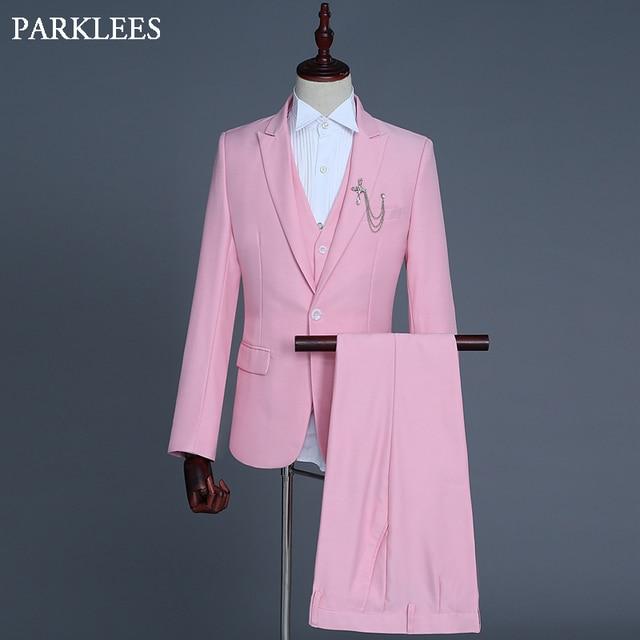 cff7b96e5 Trajes de vestir ajustados para hombre 11 colores para elegir 3 unidades  conjunto traje Rosa Blazer