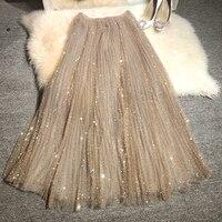 Новая мечта юбки красота звезды Тяжелая вышивка пайетки небо звезды блестящая газовая юбка