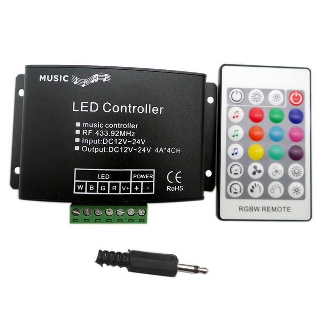 DC12V 24V Music LED Controller 24Keys RGBW RF Remote Sound Sensor Voice Audio Control For 5050 RGB LED Strip Light Tape
