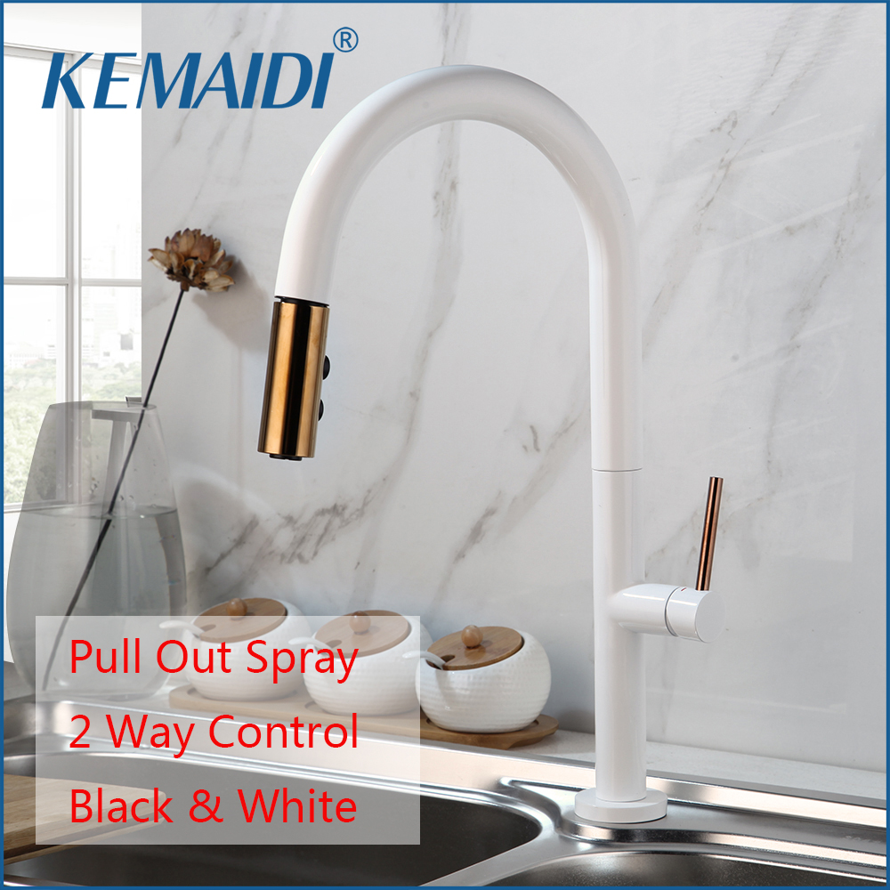 KEMAIDI 360 Swivel Pull Out 2 Ways Spray Solid Brass Kitchen Basin Sink Faucet Black White