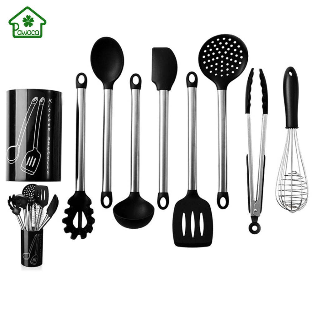 US $24.21 29% OFF 9Pcs Stainless Steel Kitchen Utensils set Tube Handle  Silicone Pot Shovel Food Clip Kitchenware Accessories Cooking Utensil  Set-in ...