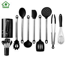 9Pcs Stainless Steel Kitchen Utensils set Tube Handle Silicone Pot Shovel Food Clip Kitchenware Accessories Cooking Utensil Set