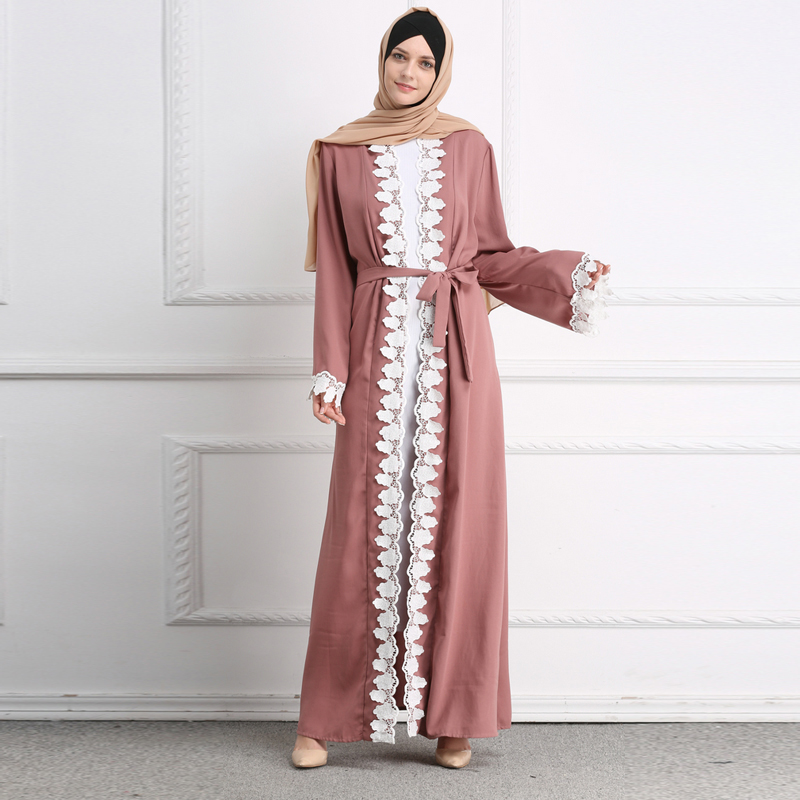2019 Pink Open Abaya Dubai Kaftan Lace Floral Kimono Muslim Hijab Dress Elbise Abayas For Women