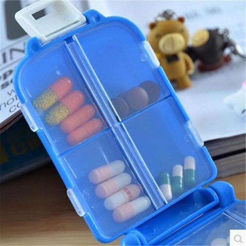 Storage Boxes & Bins 45# Portable Travel Pill Box Medicine Tablet Holder Case Double-layer Container Medicine Organizer