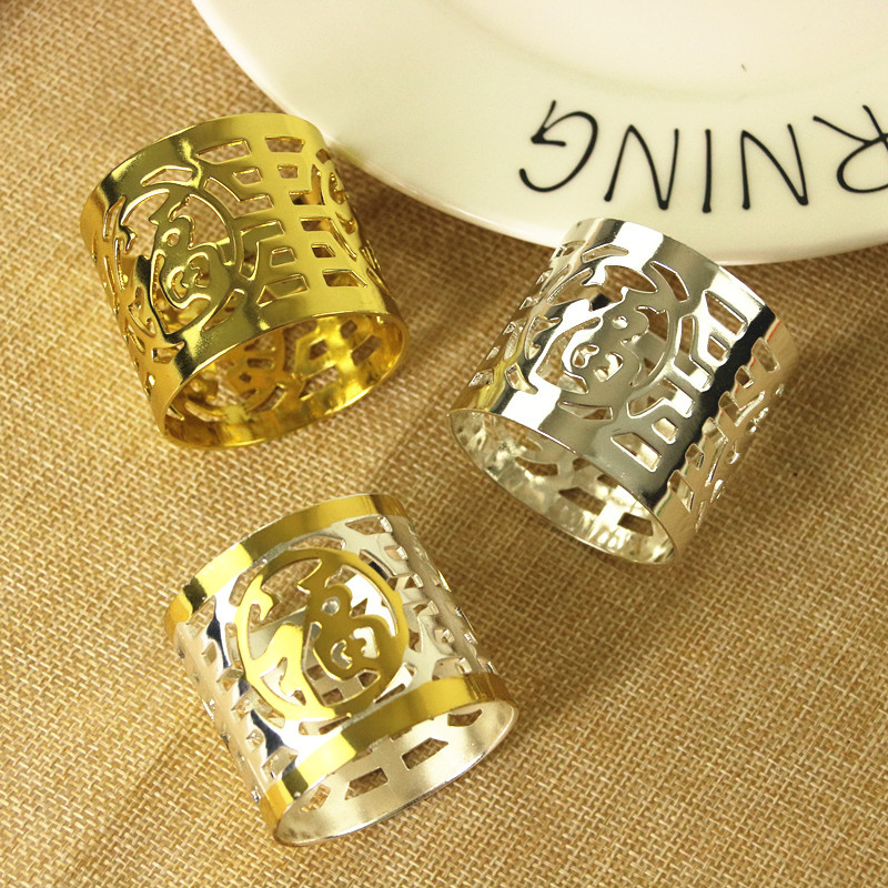 10PCS gold / silver three-color napkin ring wedding banquet buckle creative Fu Lu hi de