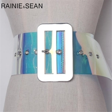 RAINIE SEAN Wide Transparent Belts Big Metall buckle PVC Women Cummerbund colourful Ladies High Fashion Dress For