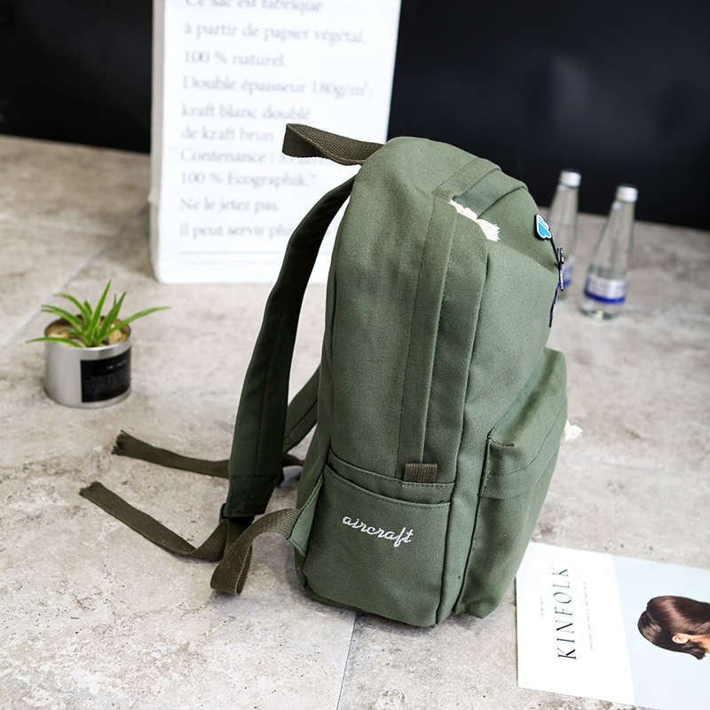 Multi-function Exquisite Backpack Large Capacity Fashion Simple Canvas School Bags Multi-function Pure Color Casual Backpacks #3